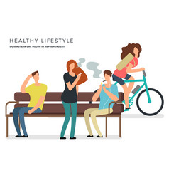 healthy lifestyle poster design with vector image