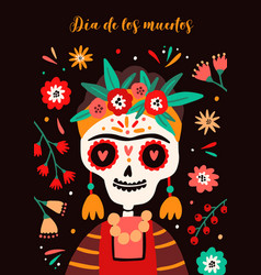 holiday poster with friday kahlo skeleton with vector image