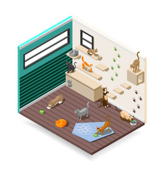 home for cats isometric composition vector image