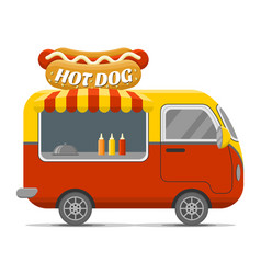 Hot dog street food caravan trailer vector
