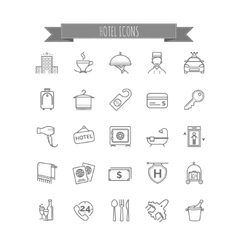 hotel icons set of thin line icons vector image