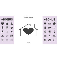 House with heart symbol - graphic elements for vector
