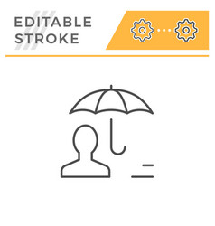 human insurance editable stroke line icon vector image