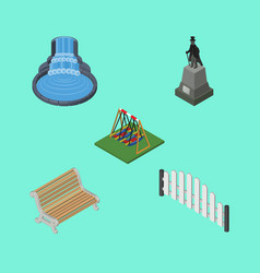 Isometric urban set of garden decor seesaw vector