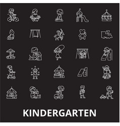 kindergarten editable line icons set on vector image