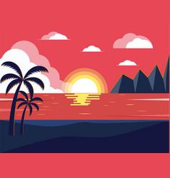 Landscape sea mountains palm vector