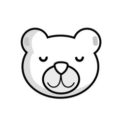 Line cute teddy bear head design vector