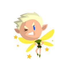 Little winged blonde elf boy winking cute vector