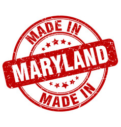 Made in maryland red grunge round stamp vector
