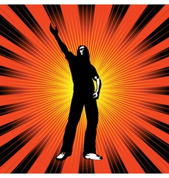 man with arm raised vector image