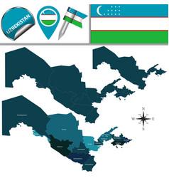 Map of uzbekistan with regions vector