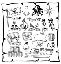 map with pirate symbols vector image
