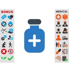 Medication vial icon vector