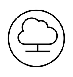 Monochrome contour with circular frame with cloud vector