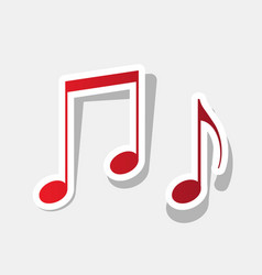 Music notes sign new year reddish icon vector