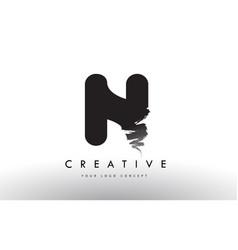 N brushed letter logo black brush letters design vector