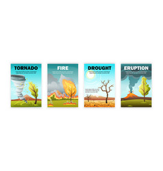 Natural calamities posters set vector