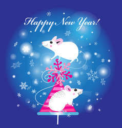 New years bright christmas card with white mice vector