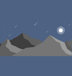 Night landscape mountain and moon vector