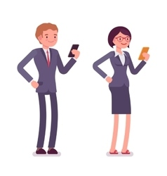 Office workers standing with smartphones vector image