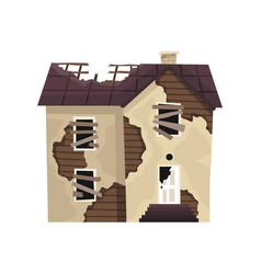 Old weathered house or dwelling abandoned home vector