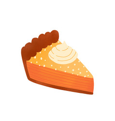 Pie piece flat tasty cake vector