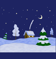 plasticine winter landscape with a house clay vector image