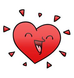 Quirky gradient shaded cartoon happy heart vector