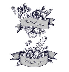 ribbon design of heartseases and herbs with thank vector image