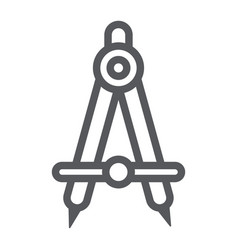 School compass line icon architect and drafting vector