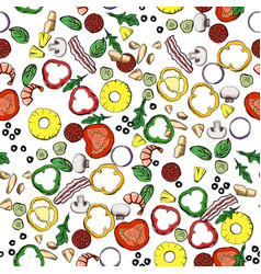 seamless food ingredients pattern vector image