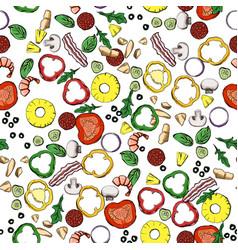 Seamless food ingredients pattern vector