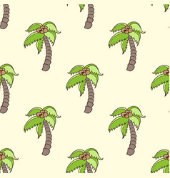 Seamless pattern with coconut palm vector