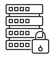 Secured server icon outline style vector