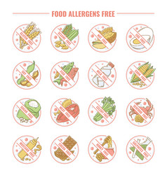 set icons and labels for products allergens vector image