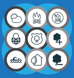 set of 9 ecology icons includes home timber vector image
