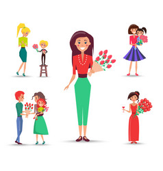 set of congratulations devoted to mom and daughter vector image
