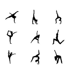 Set of easy gymnastic poses silhouette vector