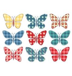 Set of patchwork butterflys 3 vector image