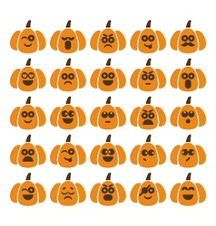 Set of pumpkins with different emotions vector