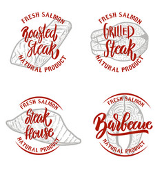 set of salmon steak emblems on white background vector image