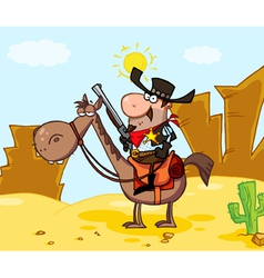 Sheriff on horseback in a desert landscape vector