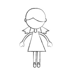 Sketch draw girl cartoon vector