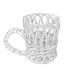 sketch of wicker cup vector image