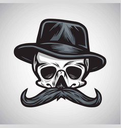 Skull mustache gentleman in hat vintage vector