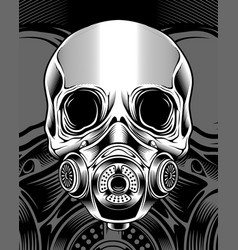 skull with respirator hand drawing vector image