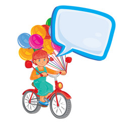 small girl ride bikes with balloons vector image