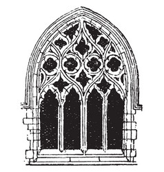 small gothic window tracery during fourteenth vector image