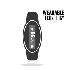 smart watch heartbeat wearable technology vector image