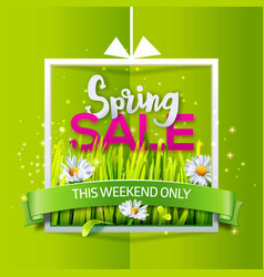 spring sale banner with green ribbon vector image